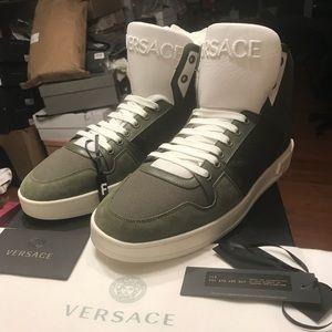 NEW Versace Logo Dark Green High Top Sneaker